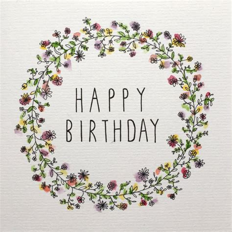 happy birthday card illustrative floral watercolour design by samanthagoodger on etsy https