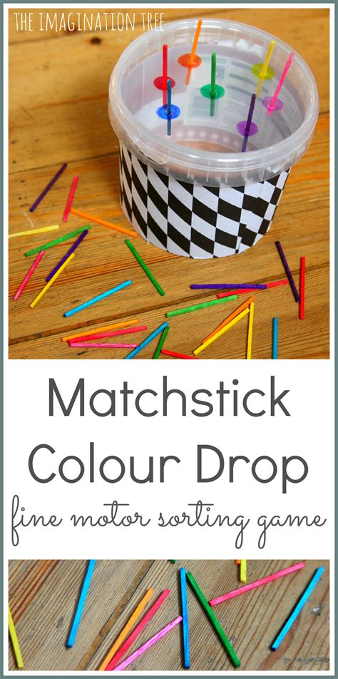 matchstick colour sorting motor the imagination 963 | Match stick colour drop fine motor sorting game for preschoolers