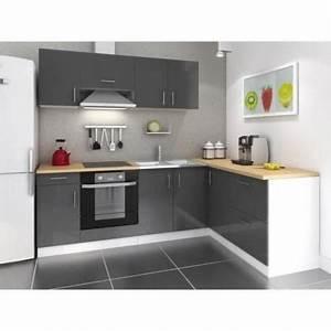 Meuble Cuisine D Angle : cuisine d 39 angle laqu gris r versible 240x160 cm achat ~ Dailycaller-alerts.com Idées de Décoration