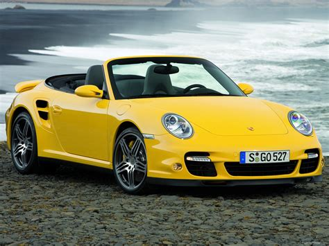 yellow porsche  turbo cabriolet wallpapers