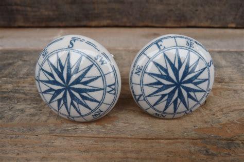 blue and white nautical compass ceramic knob by