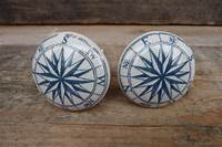 nautical cabinet knobs Blue and White Nautical Compass Ceramic Knob / by ...