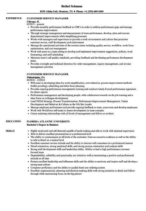 Resumes For Customer Service Managers by Customer Service Manager Resume Sles Velvet