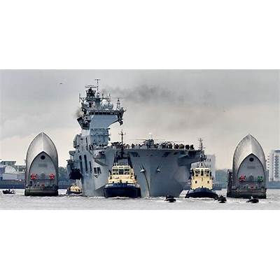HMS Ocean heads up the Thames for Olympic security