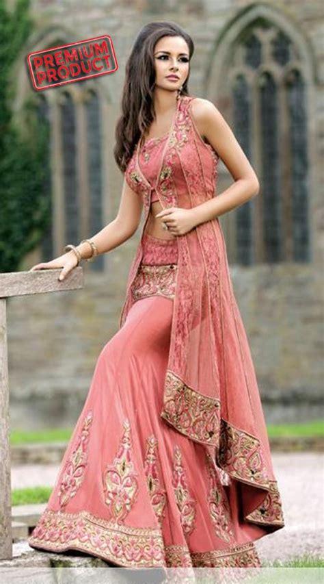 onion pink designer lehenga  long jacket sm