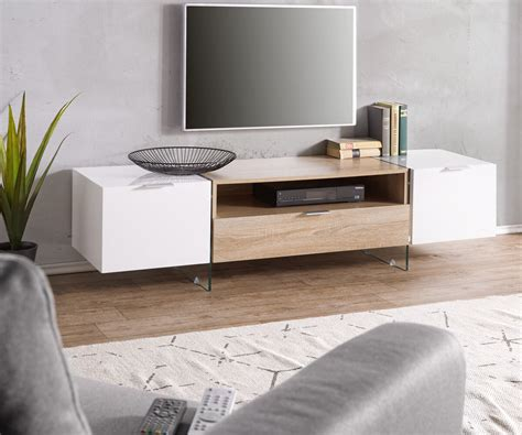 Lowboard Design Möbel by Lowboard Henora 160 Cm Weiss Hochglanz Eiche Sonoma Dekor