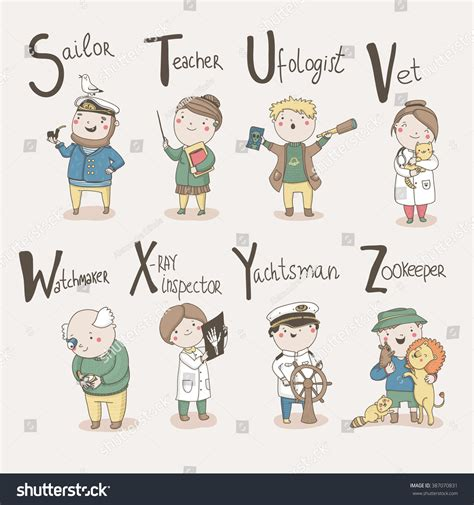 cute alphabet profession letters  sailor stock vector