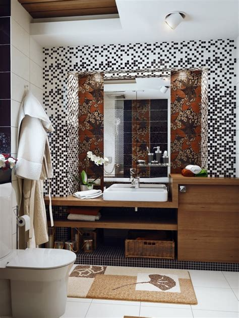 Brown Green Shower Curtain by Small Bathroom Design