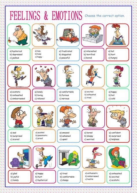 feelings  emotions multiple choice worksheet