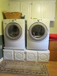 Crafty kitchen cabinets under washer dryer for storage for Under cabinet washer and dryer