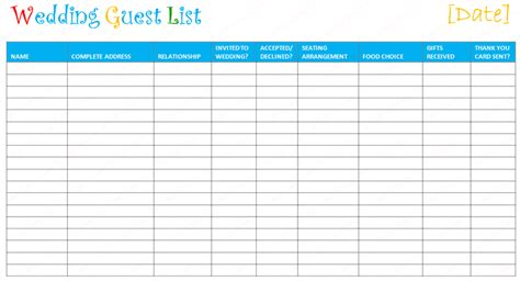 wedding list template 7 free wedding guest list templates and managers