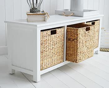 white storage seat  baskets hall furniture