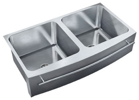 stainless steel apron sink with towel bar just double bowl apron sink 19 5x36 undermount radius
