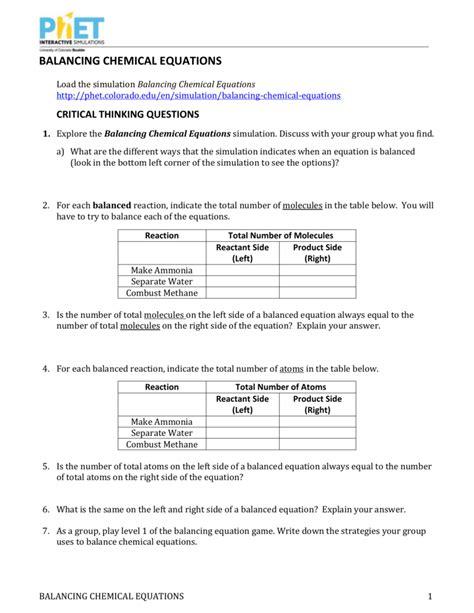 balancing chemical equations worksheet 3 answers