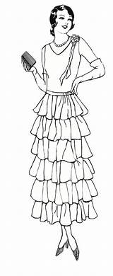 Coloring Digital Stamp Lady Pages Digi 1920 Stamps 1920s Adult Adults 1930 Dress Colouring Printable Woman Transparent Sheets Books Ladies sketch template