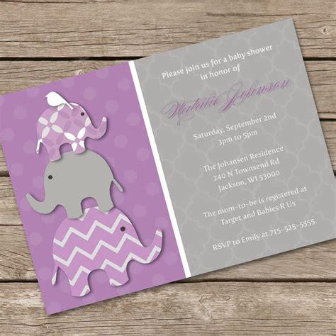 stacked elephant baby shower invitation purple diy