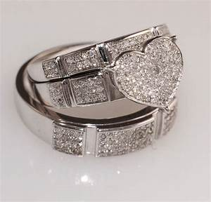 diamond white gold heart trio set wedding engagement With his her wedding ring sets
