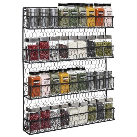 Kitchen Cupboard Storage Ideas - 4 tier black country rustic chicken wire pantry cabinet or wall mounted spice rack storage