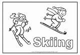 Coloring Skiing Pages Skier Sport Cartoon Colouring Template Flashcards Number Comments Popular Templates sketch template