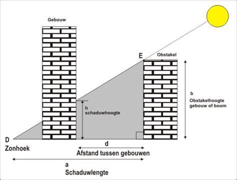 berekening zon in tuin schaduwhoogte op een gebouw door obstakels bomen of