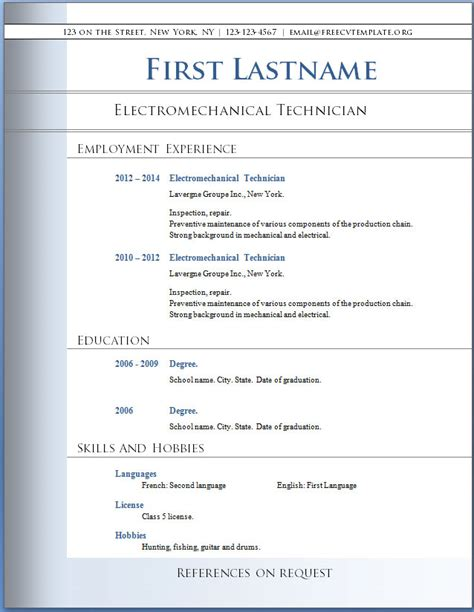 Word Format Resumes Free by Word Resume Template Free Resume Template