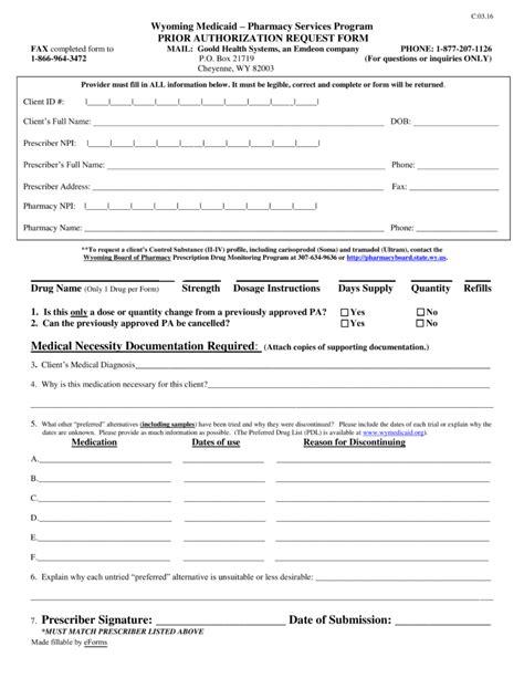 health options prior authorization form free wyoming medicaid prior rx authorization form pdf