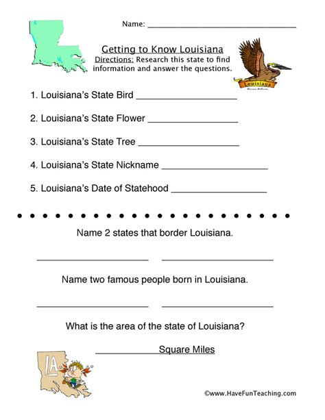 louisiana worksheets  fun teaching