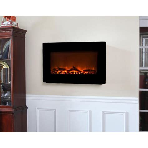 fire sense   wall mount electric fireplace  black