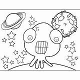 Alien Teeth Tentacles Space Coloring Printable sketch template