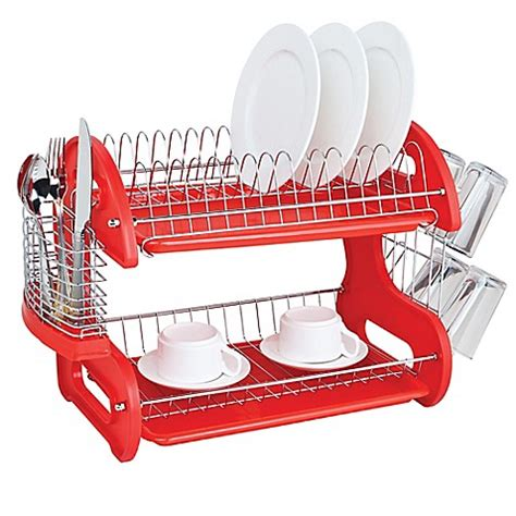 home basics 2 tier dish rack buy home basics 174 2 tier dish drainer in from bed bath