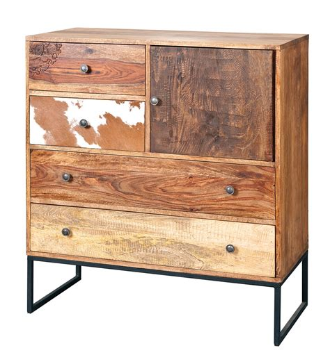 Natural Look Chest Of Drawers In Mango Wood 25607 Furniture