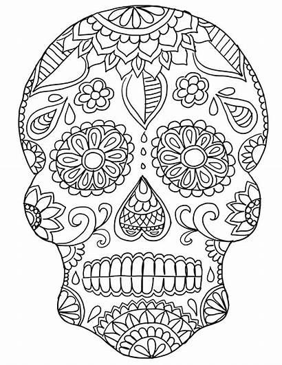 Coloring Calavera Skull Sugar Pages Skulls Printable