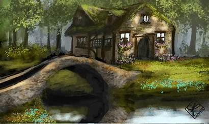 Cottage Bridge Scenery Desktop Wallpapers Country Backgrounds