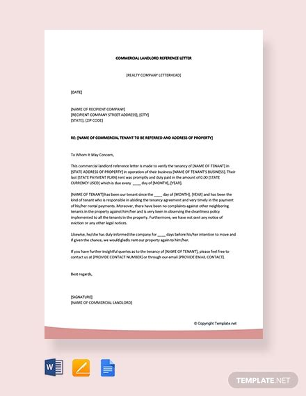 commercial landlord reference letter template word