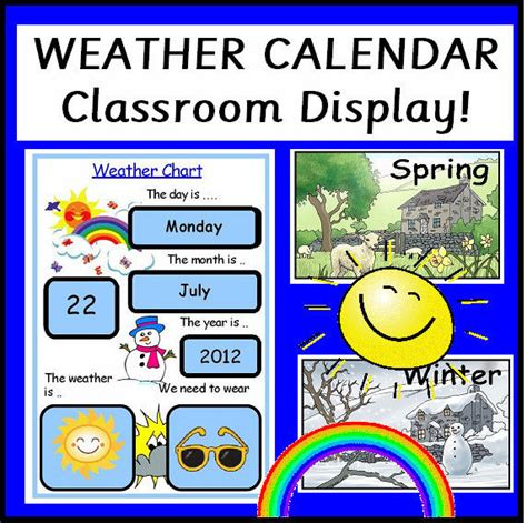 time and temperature phone number weather chart calendar teaching resources class display