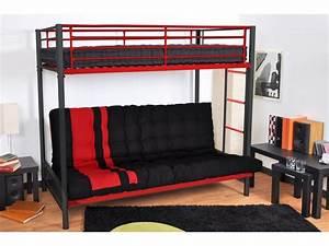 Lit Superposé Clic Clac : lit mezzanine clic clac mezzaclic rouge et noir 90 et 140 ~ Nature-et-papiers.com Idées de Décoration