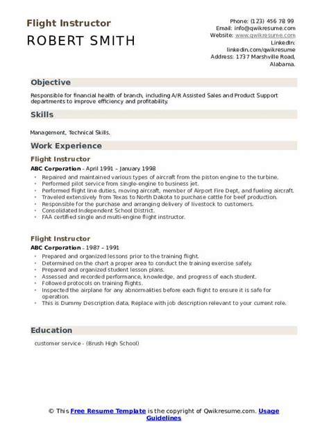 flight instructor resume samples qwikresume