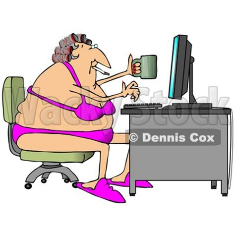 Sitting At Desk woman using computer clip art 17