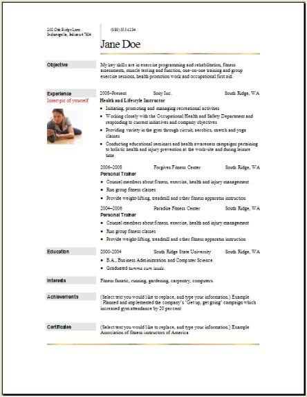 sports fitness resume occupationalexamplessamples