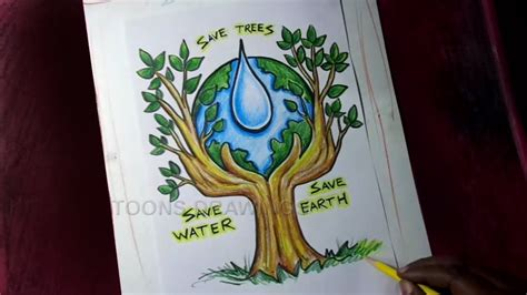 draw save trees save water save earth poster