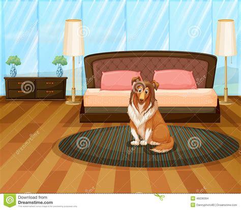 chambre de chien chien dans la chambre à coucher illustration de vecteur