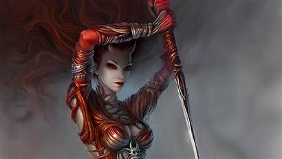Demon Fantasy Warrior Horns Spear Weapons Tg