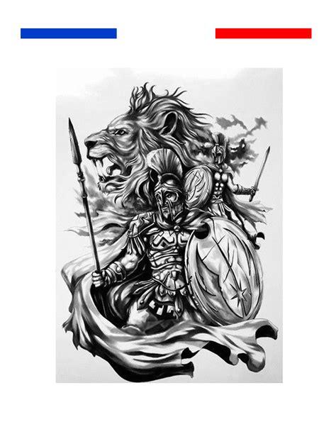 tatouage temporaire spartiate gladiateur  lion mon