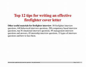 Letter Of Recommendation Firefighter Top 12 Tips For Writing An Effective Firefighter Cover Letter