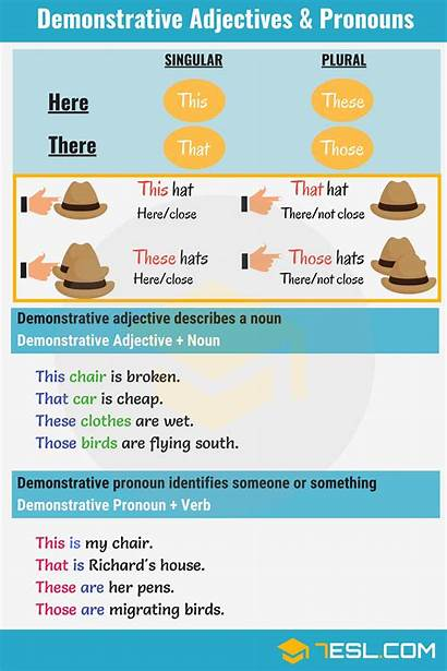 Demonstrative Adjectives Pronouns Those Grammar English Adjective