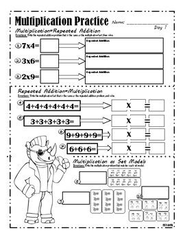 multiplication set model  repeated addition worksheet