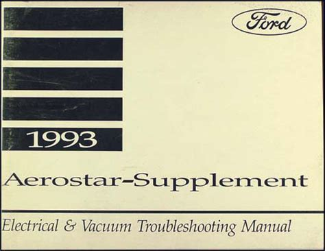 electric and cars manual 1993 ford aerostar parental controls 1993 ford aerostar electrical troubleshooting manual original supp