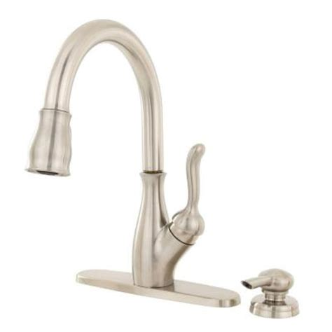 home depot kitchen faucet delta leland single handle pull down sprayer kitchen faucet with soap dispenser in stainless