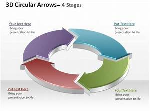 3d Circular Arrows Process Smartart 4 Stages Ppt Slides