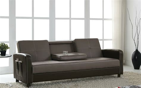Sofa Bed Cup Holder by Sofa Bed Faux Leather With Cup Holder And Armrests 3